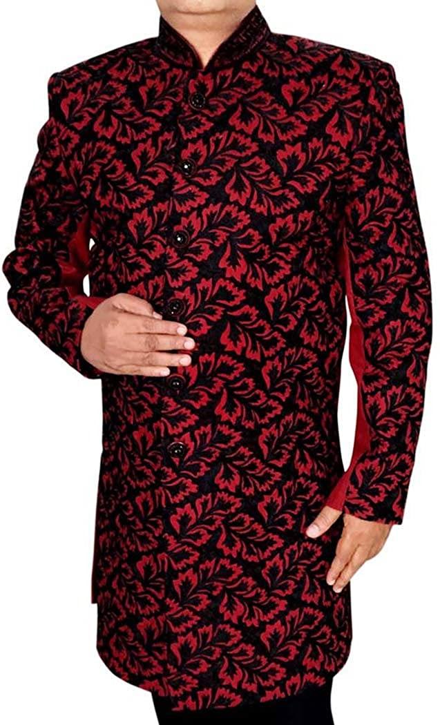 INMONARCH Mens IndianSuit Crimson Sherwani Black Embroidery IndianSuit SH0497