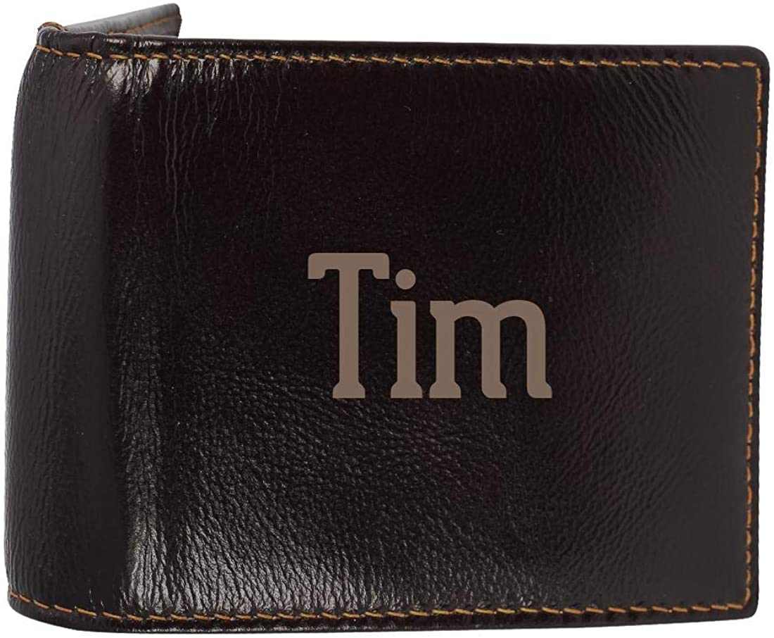 Tim - Genuine Engraved First Name Soft Cowhide Bifold Leather Wallet