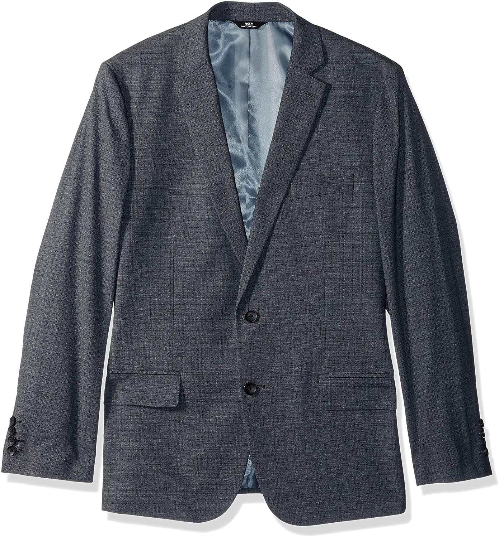 J.M. Haggar Men's Subtle Plaid Stretch Slim Fit Suit Separate Coat, Medium Grey, 44R