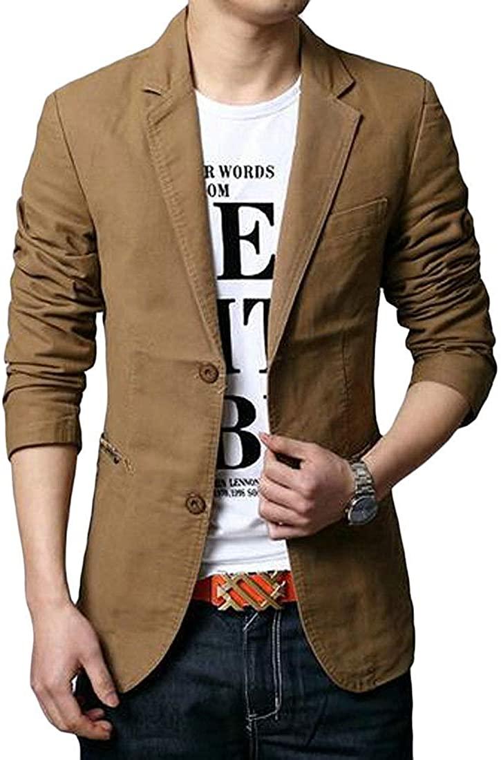 Men Solid 2 Button Casual Business Cotton Dress Blazer Jacket Suit Coat,1,US-M
