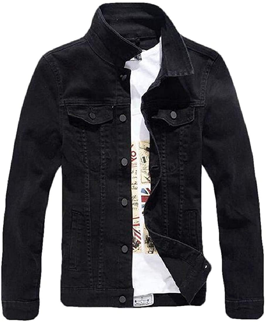 Xudcufyhu Men Casual Hipster Slim Fit Solid Colors Denim Trucker Jacket Coat