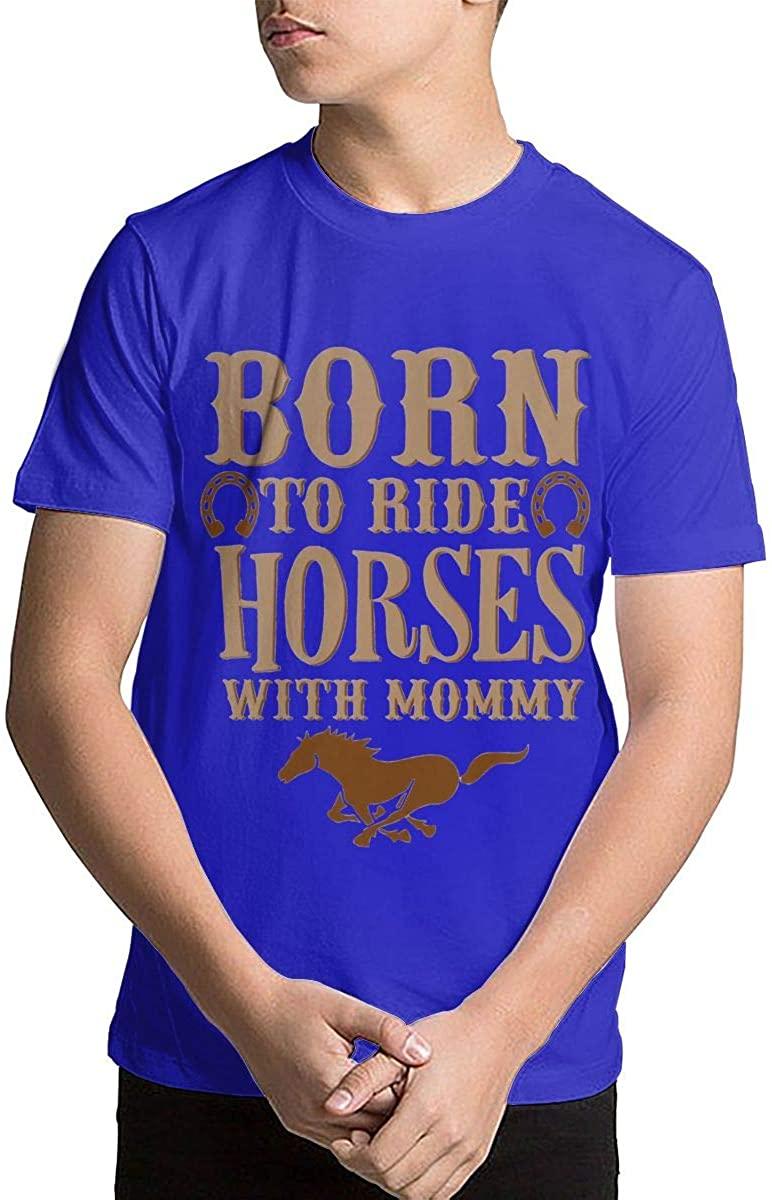 Youth Kids' Born to Ride Horses Short Sleeve Printed T-Shirt Crewneck Shirt Short Sleeve