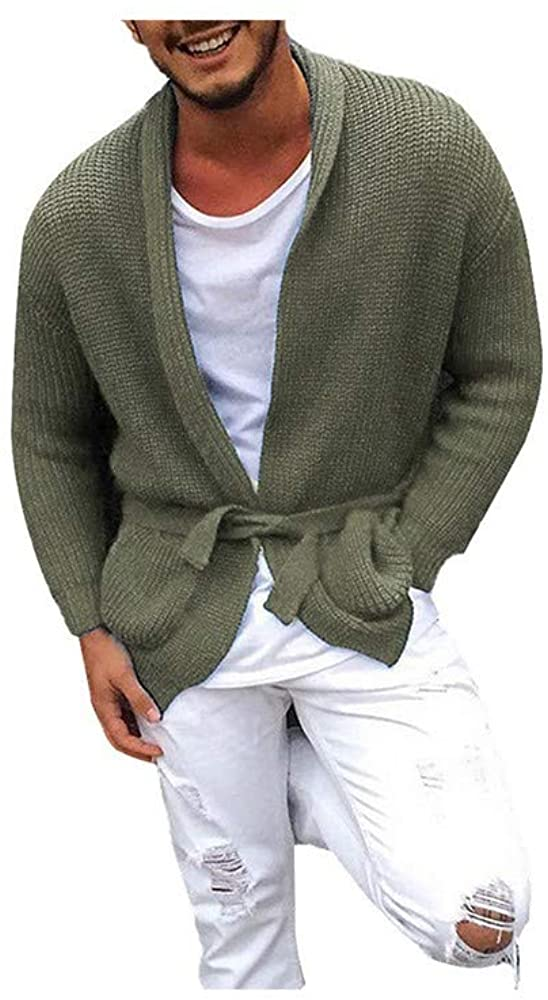 Sweaters for Men Coe Shawl Collar Sweater Coat Cardigan Male Solid Color Slim Mens Coats Brown Sweater-in V