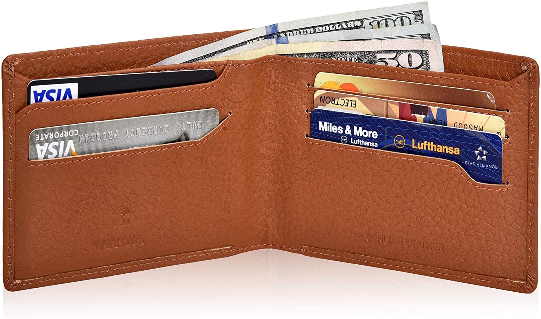 Wise Owl Accessories Men's Minimalist Wallet with credit card slots - Slim Bifold Wallets RFID Blocking