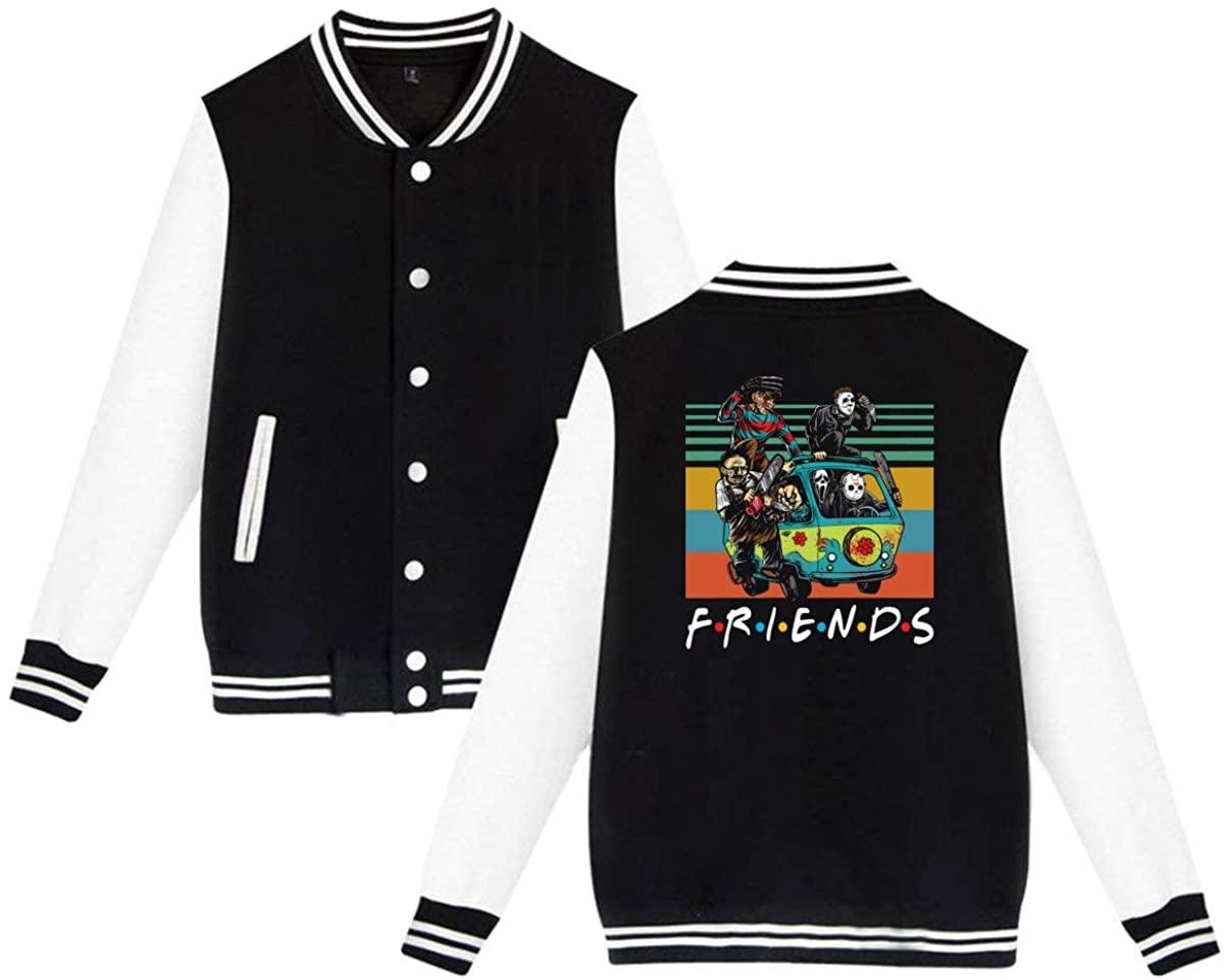 ASFSDGSDG Friends Film Style Gift The Massacre Machine Horror Halloween Unisex Baseball Jacket Varsity Jacket