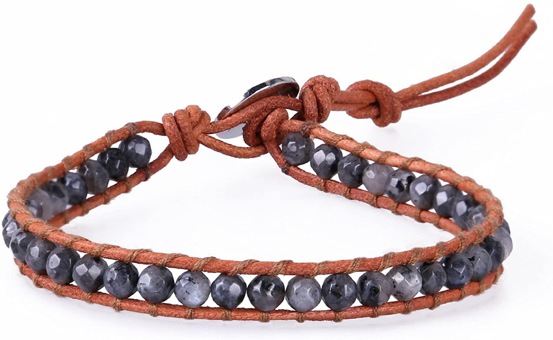 KELITCH Natural Gems Agate Beaded Leather Wrap Bracelets Handmade Woven Braided Bracelets (Black)