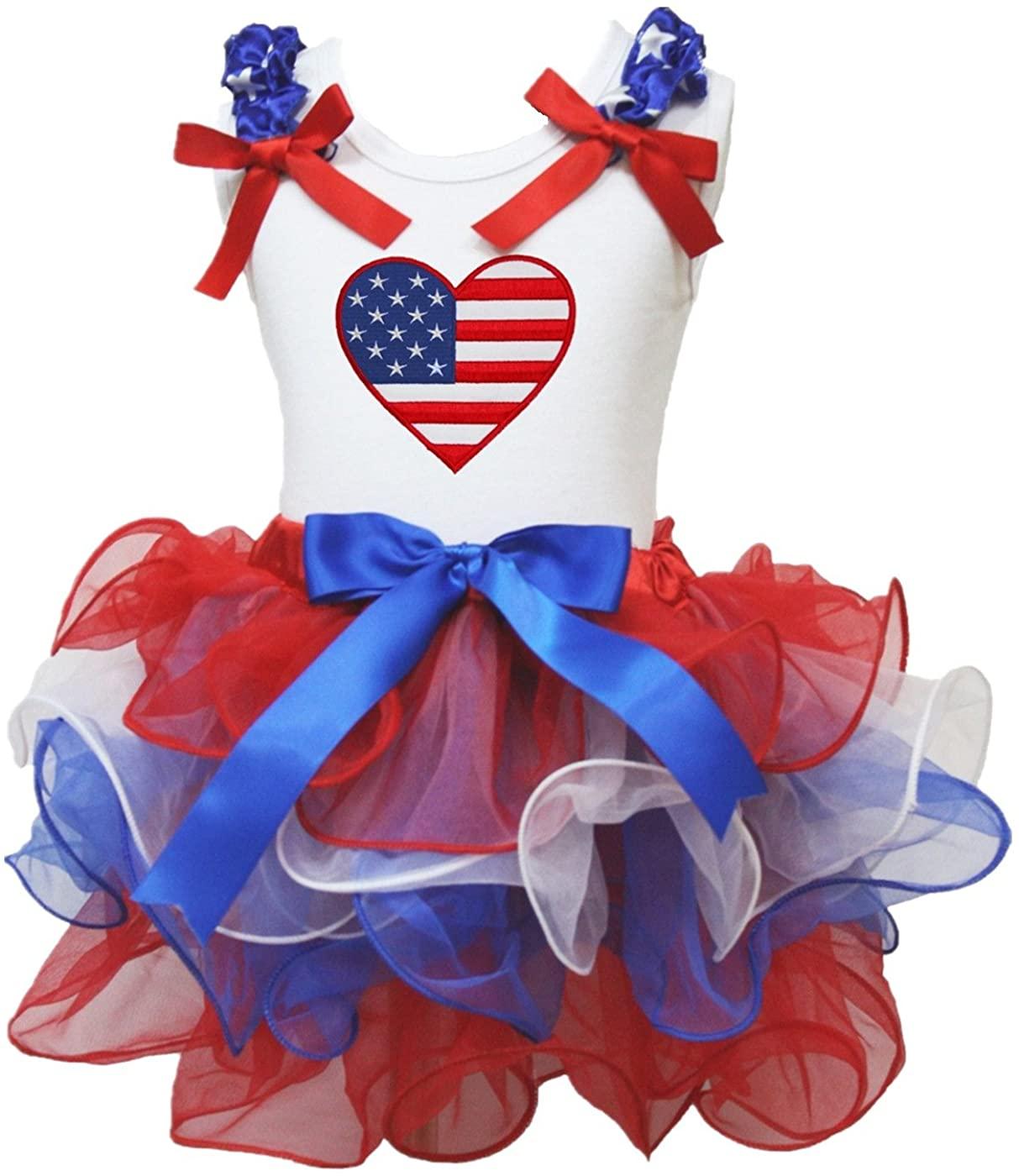 Petitebella USA Heart Shirt Petal Skirt Outfit Nb-8y