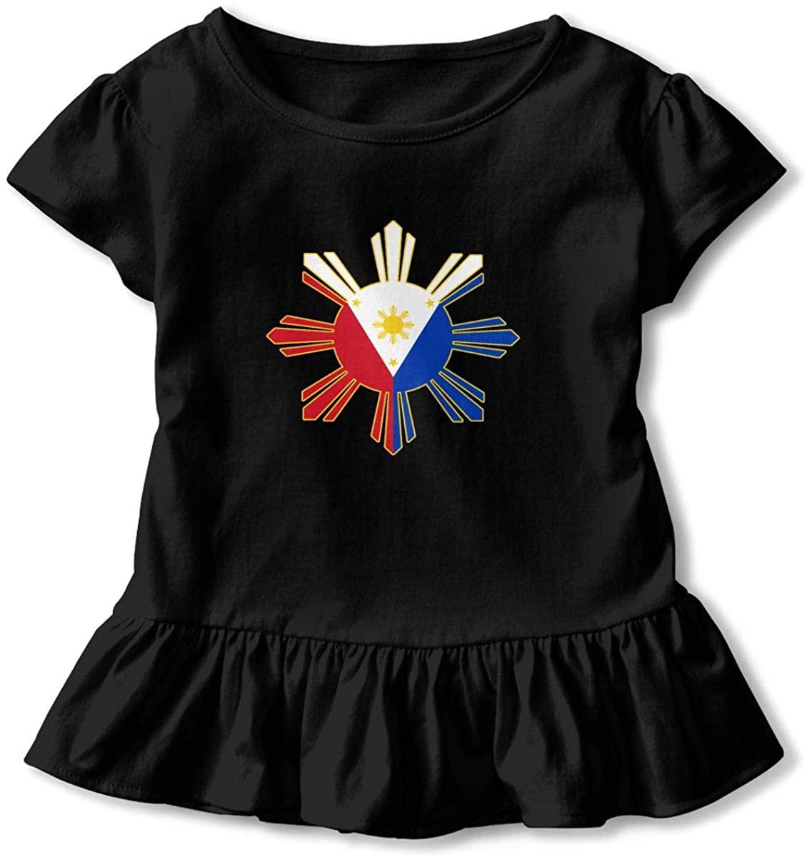 EASON-G Toddler Girl's Ruffle T-Shirt Filipino Flag Short Sleeve 2-6T