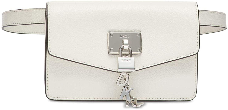 DKNY Elissa Leather White Belt Bag, Small