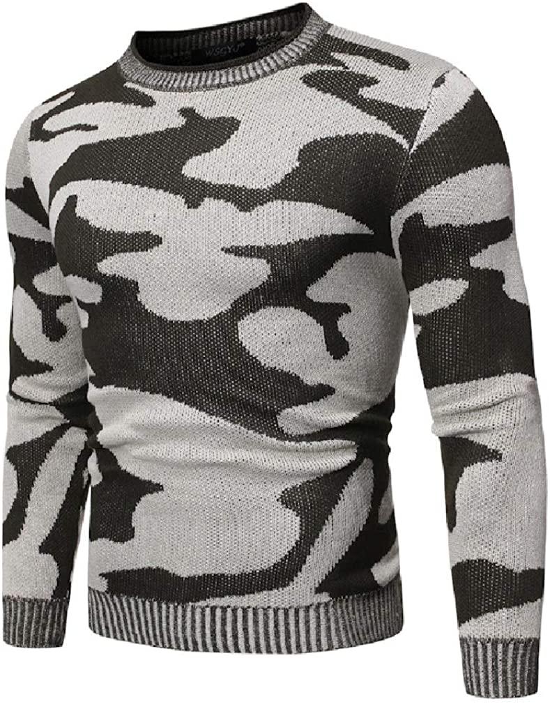 KLJR Men's Casual Slim Fit Camouflage Contrast Color Knit Pullover Sweater