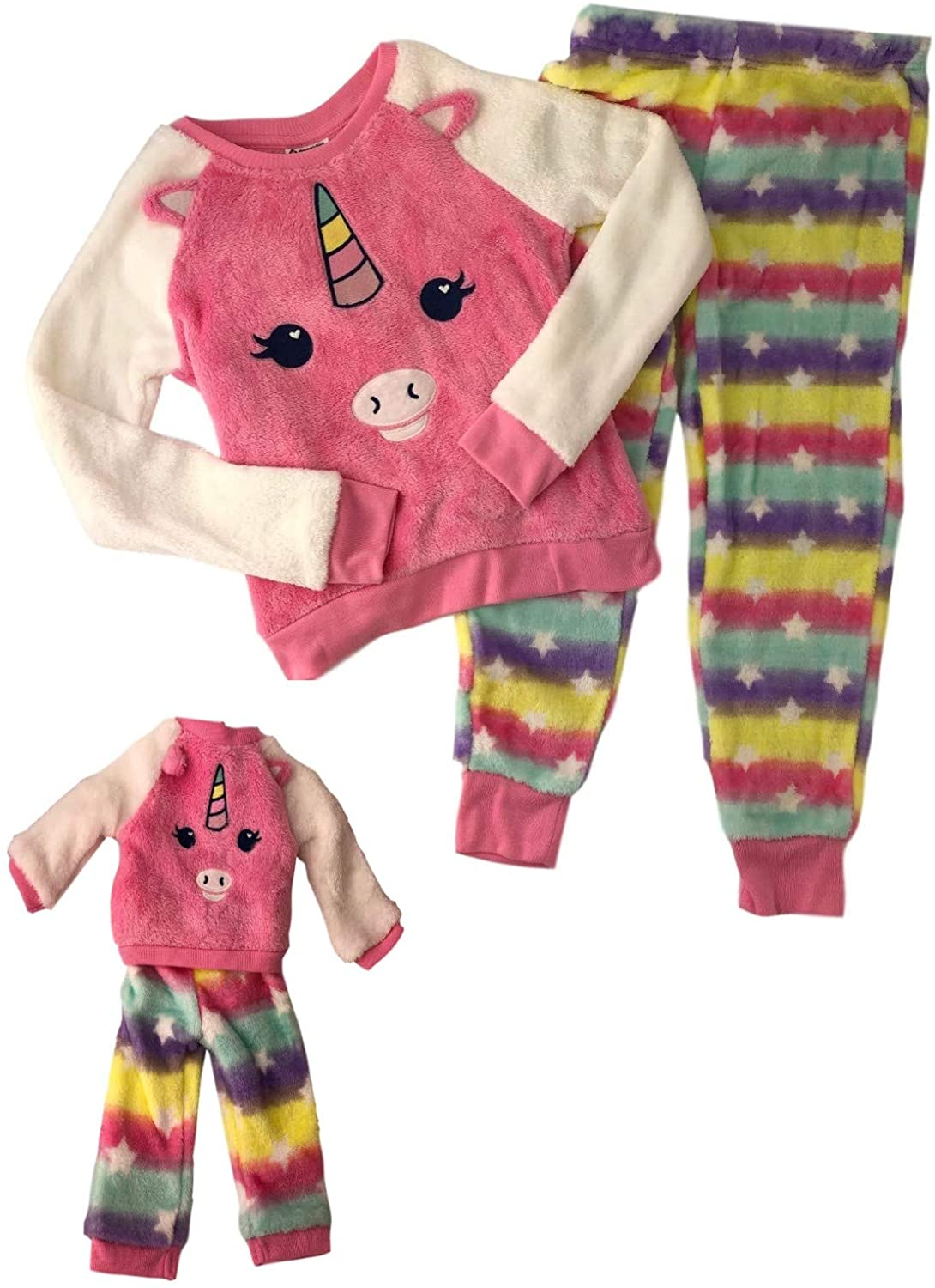 Girls Pajamas Long Sleeve and Matching Doll Set Kitty Fox Toddler Little Kid