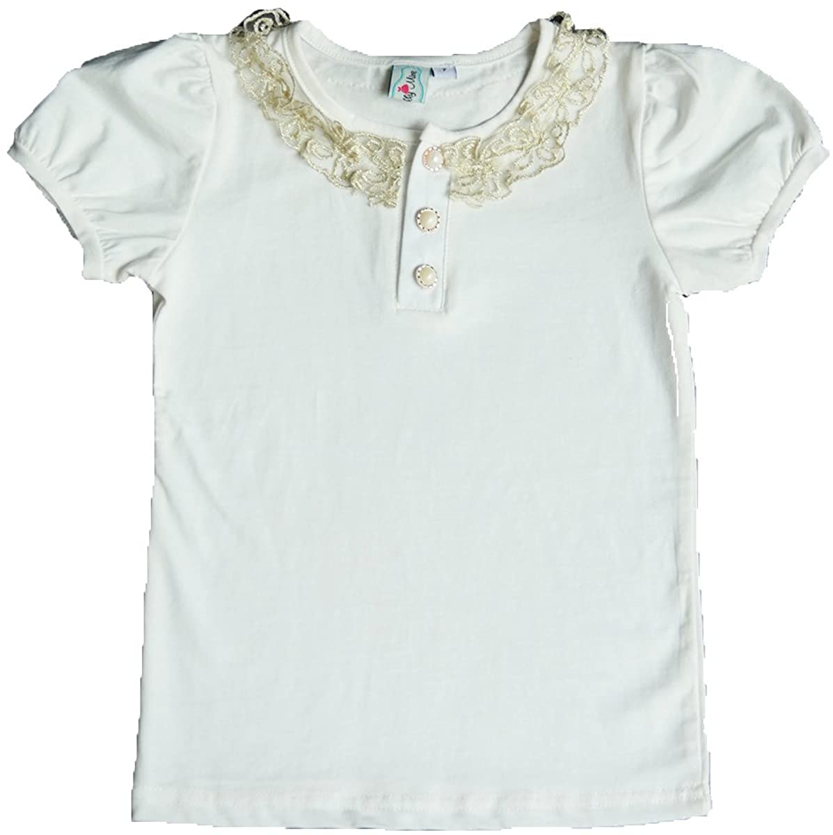 CHOCOKIDS Girls Polo Shirt with Gold Collar Embroidery ; White/Navy Blue BSR0121