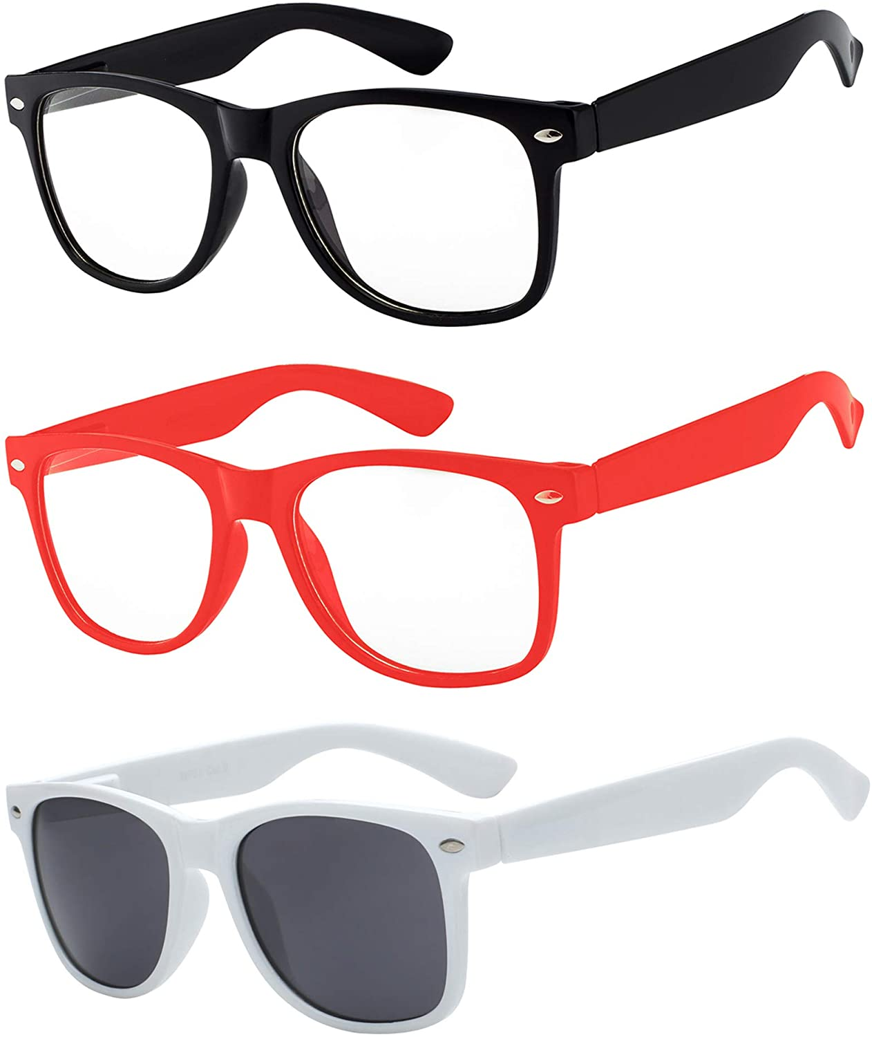 3 Pairs Kids Clear Lens Glasses Protect Child's Eyes from UVB UVA Blue Light Blocking