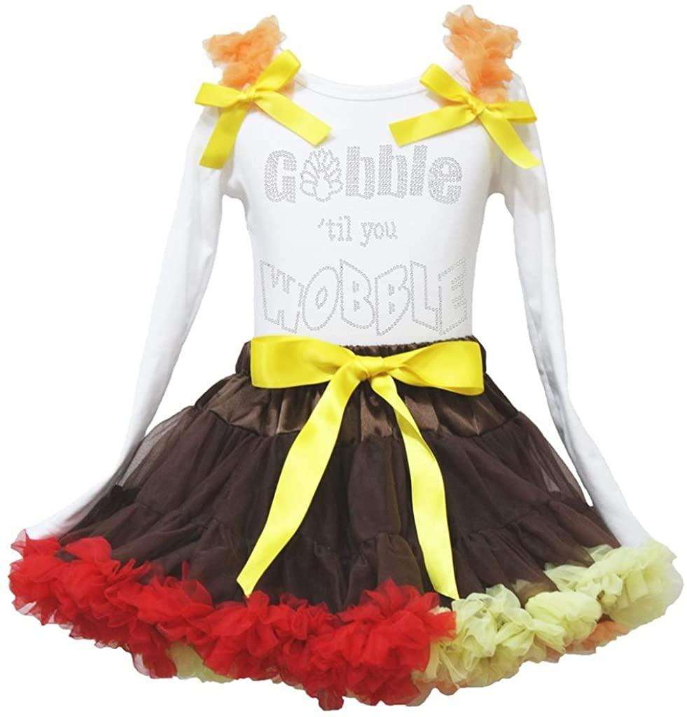 Petitebella Gobble Turkey White L/s Shirt Red Yellow Ruffle Skirt Set 1-8y