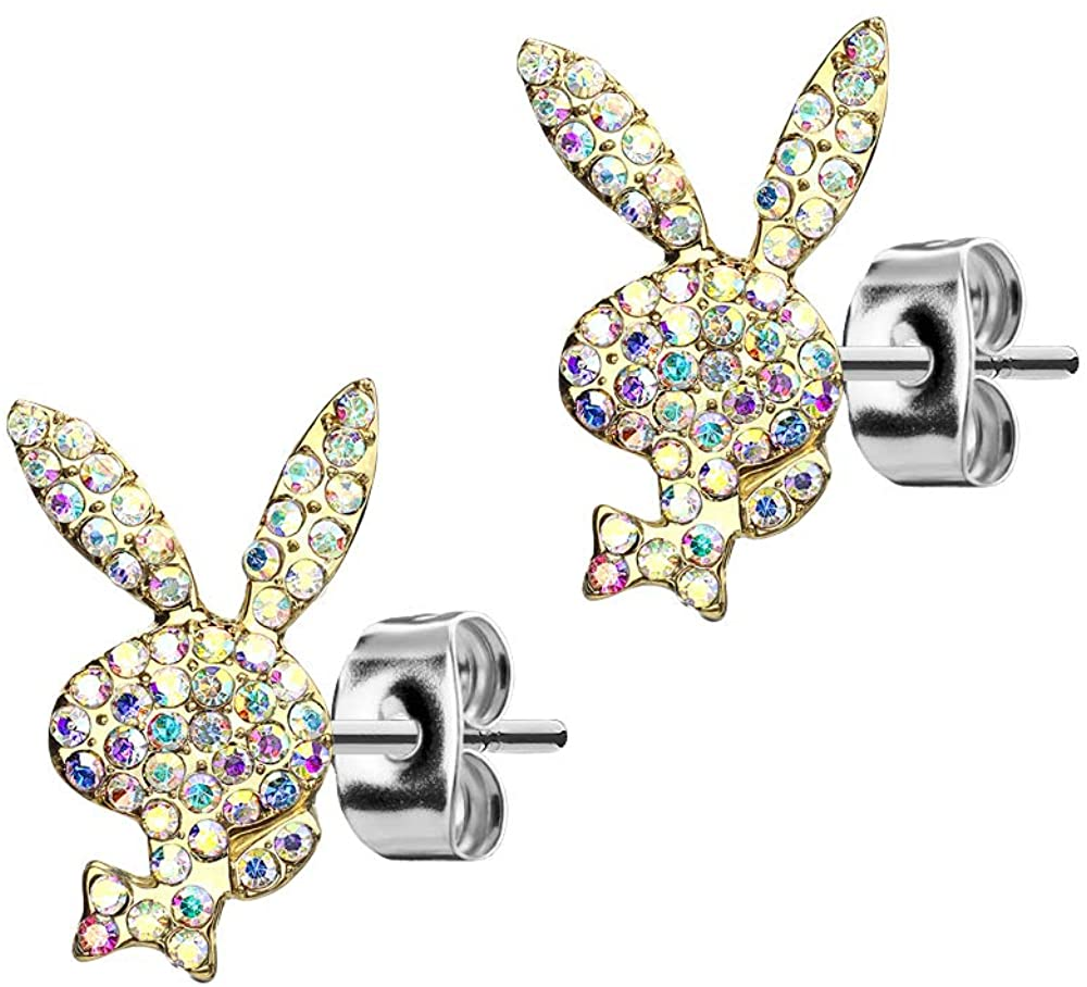 Playboy 316L 20G Surgical Steel Gold With AB Stone Face Bunny Earring Studs