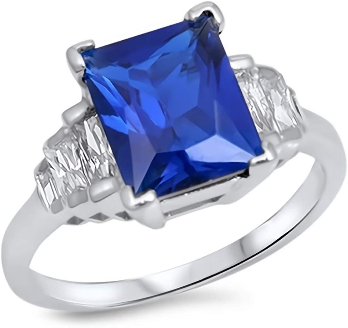 Glitzs Jewels 925 Sterling Silver CZ Ring (Royal Blue & Clear) | Cubic Zirconia Jewelry Gift