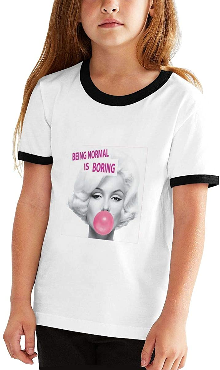 Marilyn Monroe Youth Fashion Short-Sleeved Contrast Color Short-Sleeved T-Shirt.