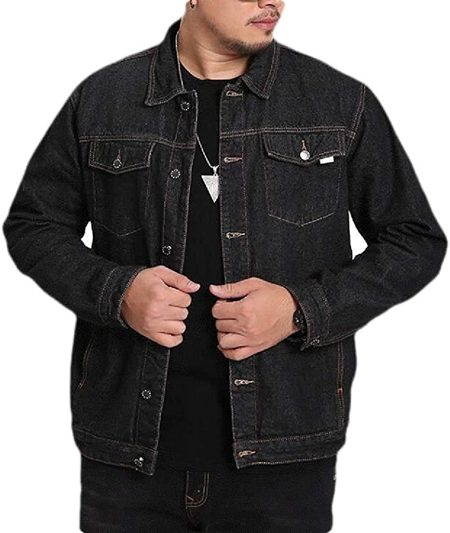 Xudcufyhu Men Big and Tall Trucker Coat Casual Long-Sleeve Button Down Denim Jackets