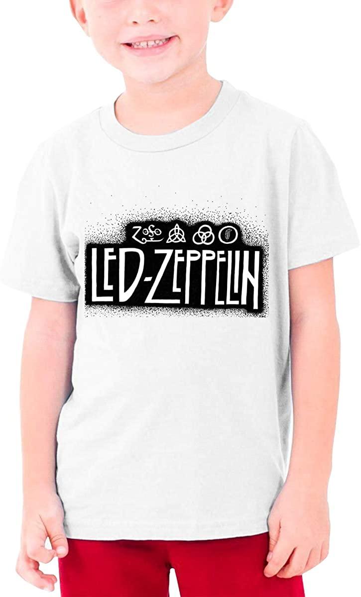 Boys and Girls Teens Short Sleeve T-Shirt Led Zeppelin Unique Retro Design White