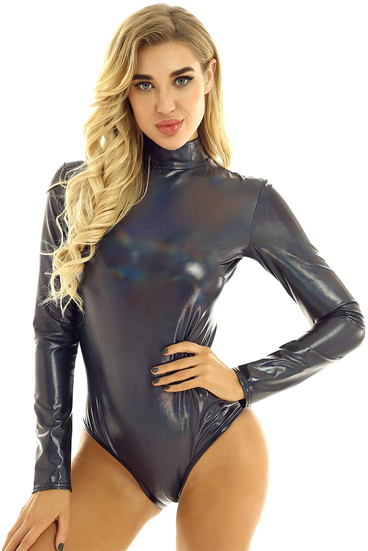 JanJean Womens Shiny Metallic Turtle Neck One-Piece Long Sleeves Leotard Bodysuit Jumpsuit Clubwear