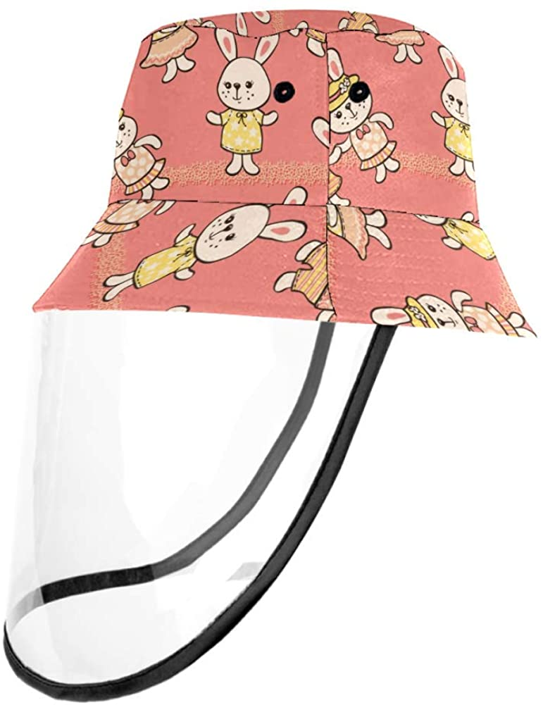 Cartoon Rabbits Fisherman Cap Unisex Hats for Adults and Children