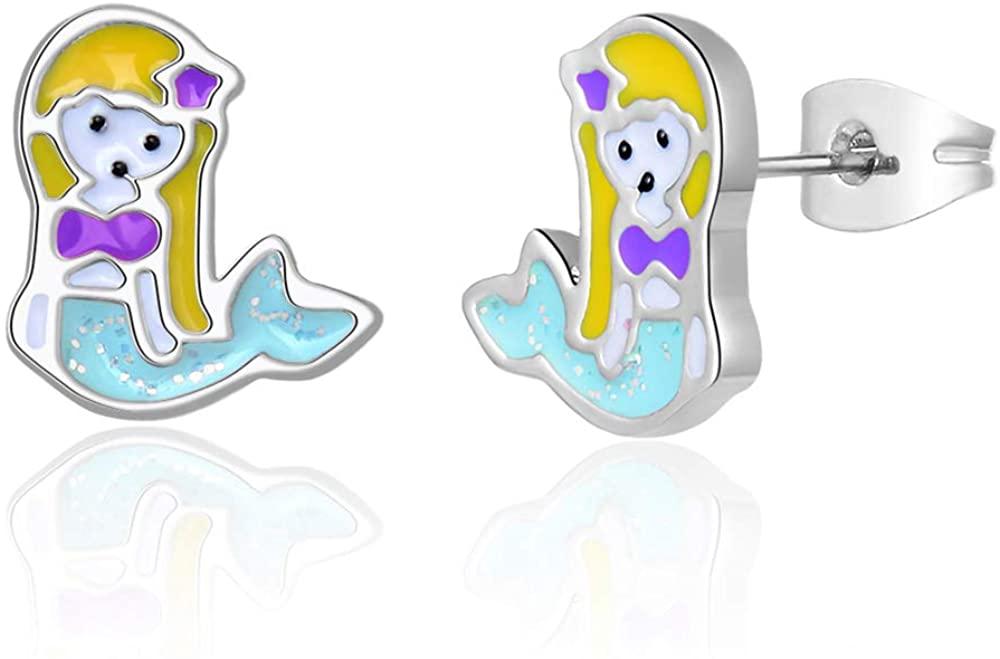 Hypoallergenic Silver Blue & Pink Mermaid Stud Earrings for Girls Mermaid Jewelry Birthday Gifts