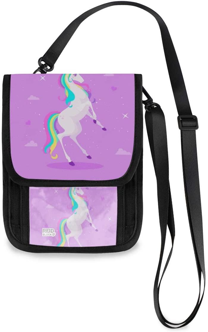 Travel Neck Wallet Pink Unicorn Passport Holder Organized Travel Neck Pouch Crossbody Phone Bag for Women Men
