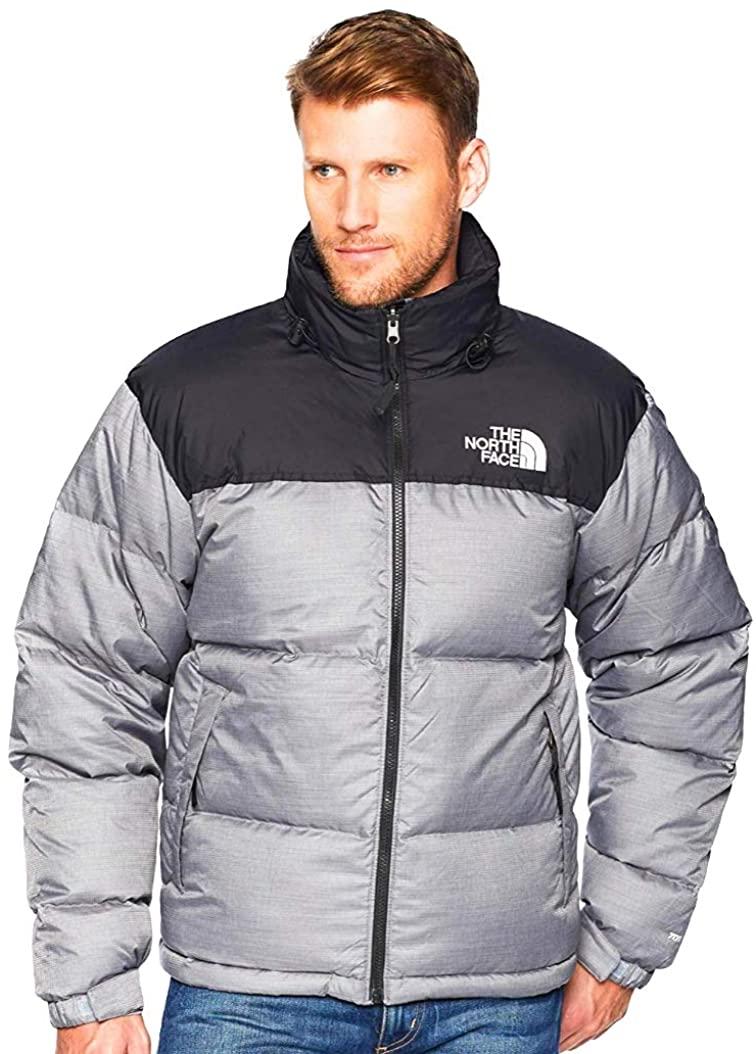 The North Face Men Novelty Nuptse Jacket in Medium Grey Heather/Black X-Large