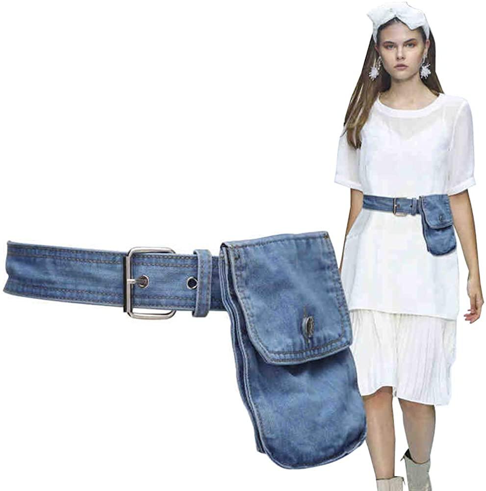 Aecibzo Women's Denim Waist Belt Fanny Pack Waist Bag with Removable Belt Bag