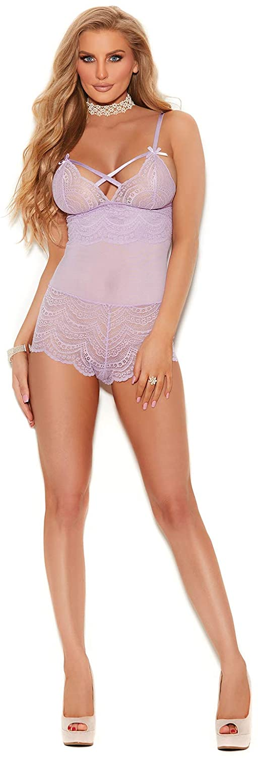 Elegant Moments 77057 Lace Romper with Criss Cross Front Detail