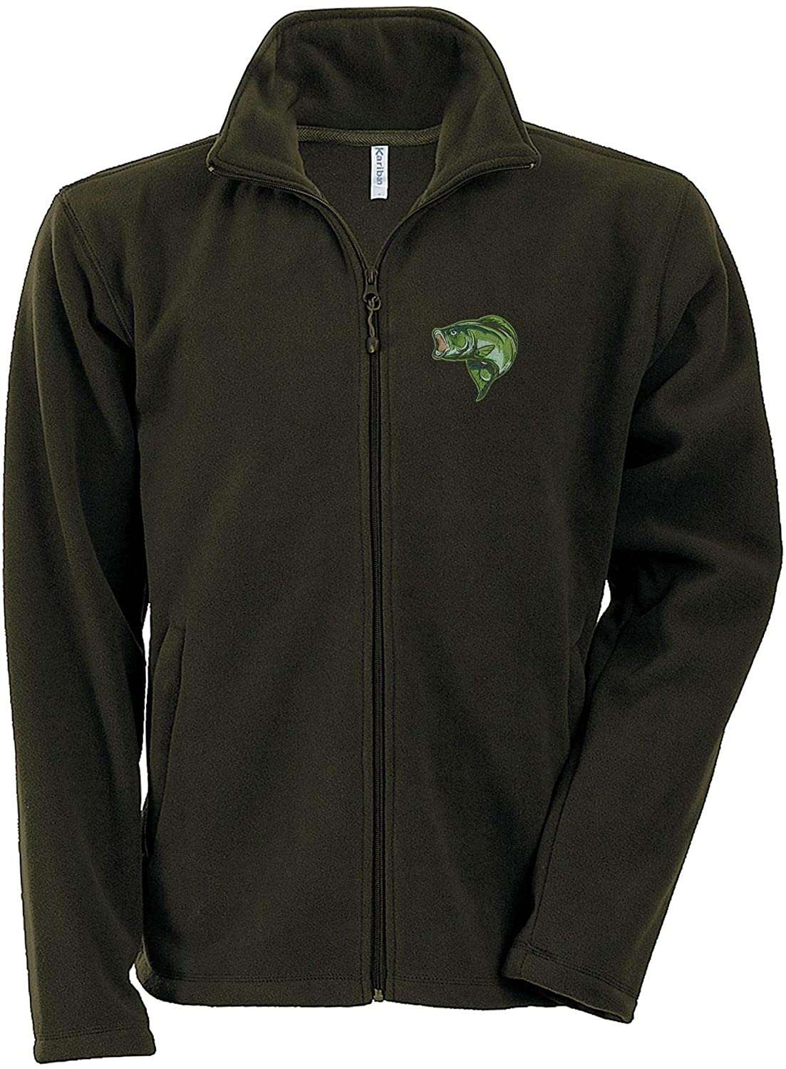 Bass Fishing Fleece Jacket with Embroidered Fish Fisherman Clothing Gift Ideas