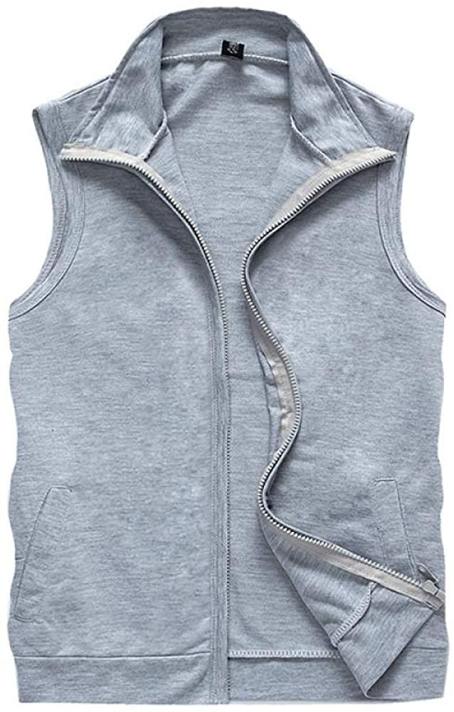 HOSD Summer Hooded Vest Sweater Men and Women Loose Hooded Sleeveless T-Shirt Casual Sports Waistcoat Vest Light Grey