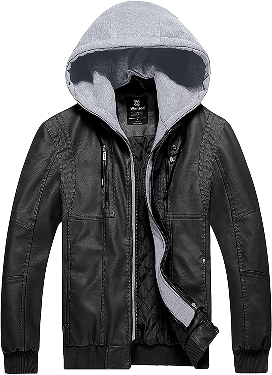 Wantdo Mens Faux Leather Jacket Moto Jacket PU Warm Coat with Removable Hood