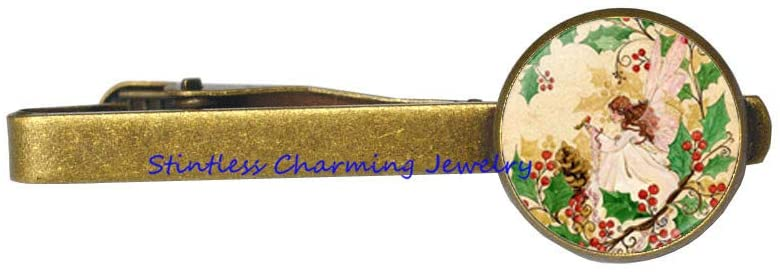 Fairy Tie Clip, Boho Tie Clip, Dainty Fairy Tie Pin, Glass Cabochon, Tile Tie Clip Jewelry Gift for Her, Fairy Jewelry-JV93