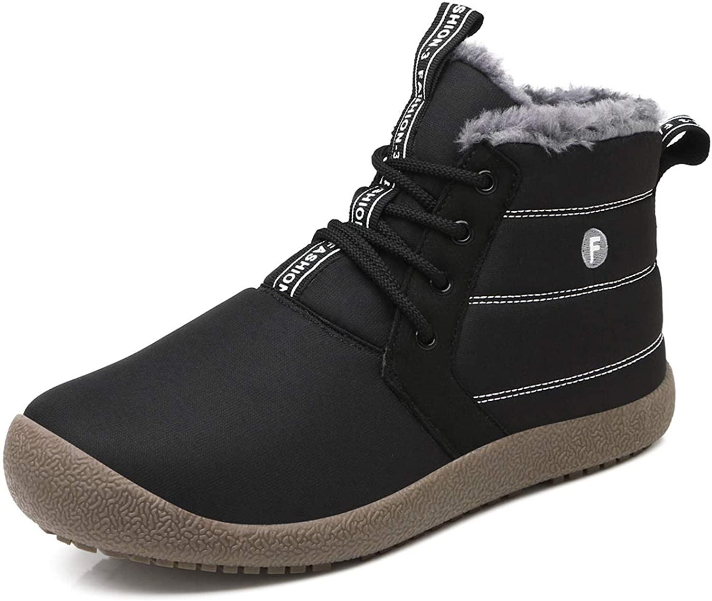 LIGHFOOT Womens&Mens Winter Snow Boots Ankle Booties Slip-On Warm Fur Waterproof Water Resistant Sneakers Anti-Slip Outdoor Plus Size Shoes