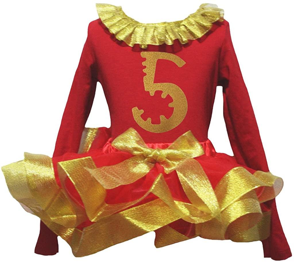 Petitebella Gold Five 5th Paint Red L/s Shirt Petal Skirt Gold Ribbon Set Nb-8y