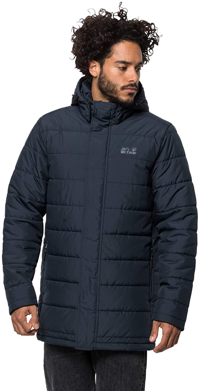 Jack Wolfskin Men's Svalbard Quilted Insulated Windproof Coat, Night Blue, Medium