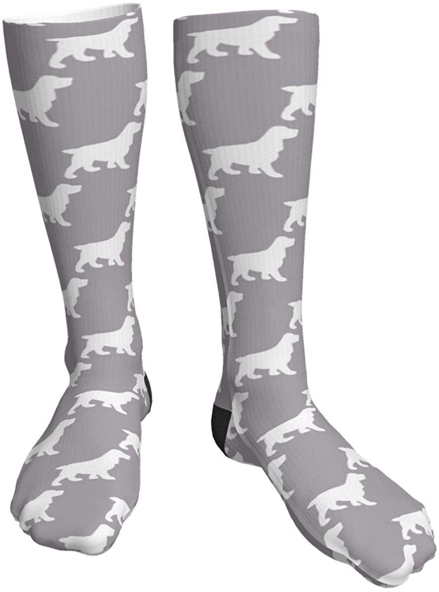 Unisex Casual Socks, Light Gray Coker Spaniels Athletic Socks Compression Crew Socks 50cm Long Socks