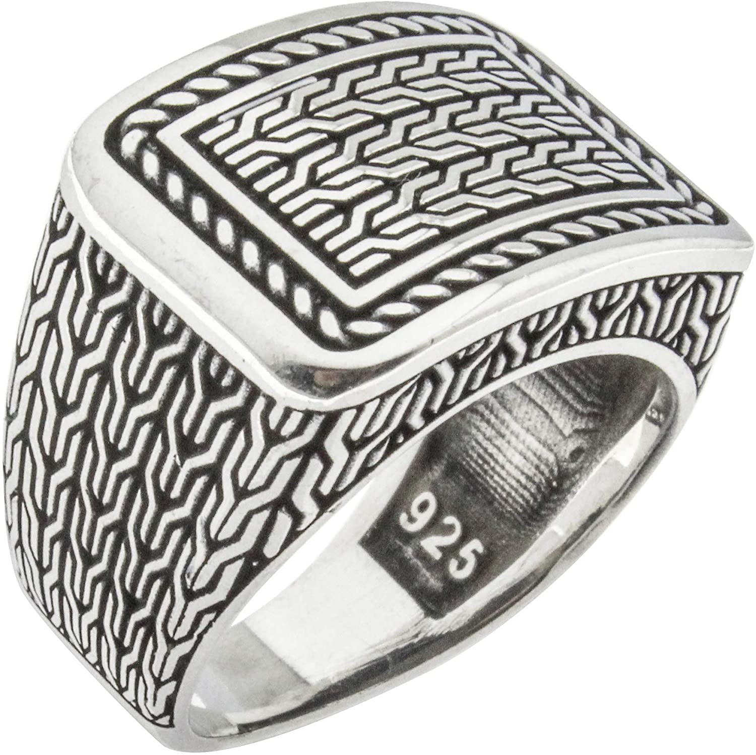 Solid 925 Sterling Silver Turkish Handmade Braided Knot Chain Men's Luxury Ring