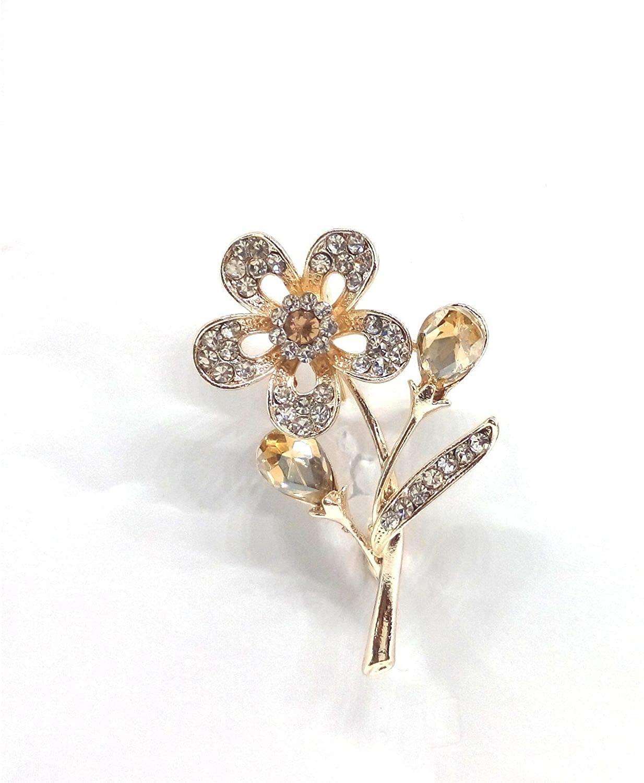 Efulgenz Pearl Crystal Rhinestone Floral Bridal Wedding Bouquet Banquet Brooch Badge Pin Breastpin Accessory Jewelry