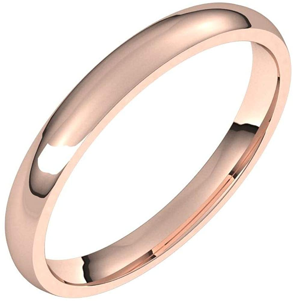 Solid 18K Rose Gold 2.5mm Half Round Comfort Fit Light Wedding Band Size 7