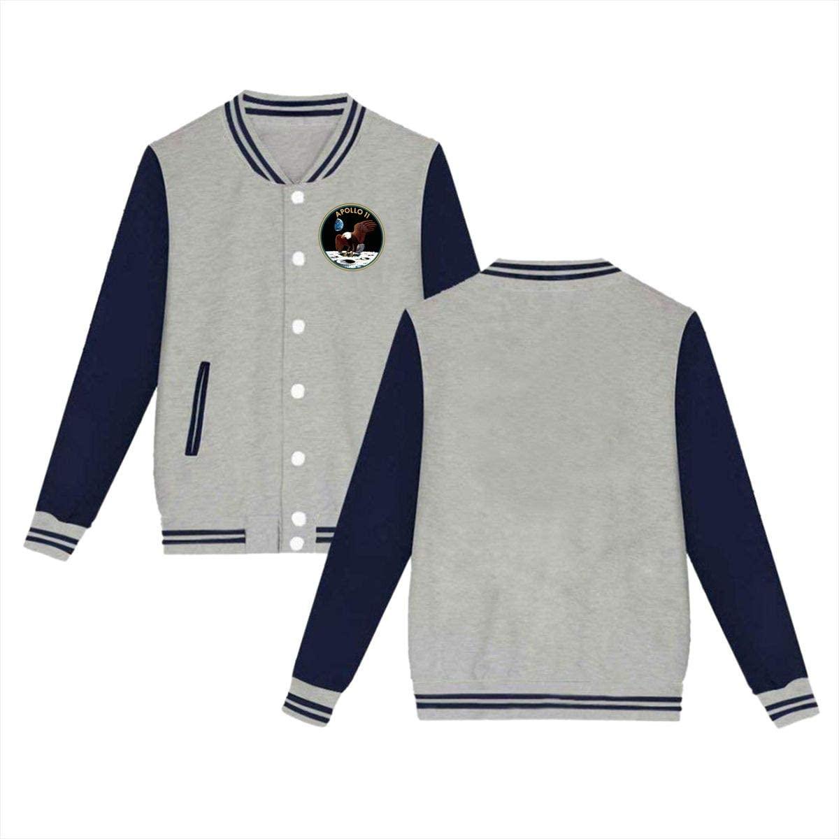Mens Womens Baseball Uniform Jacket Sport Coat Sky-Apollo 11 Cotton Sweater