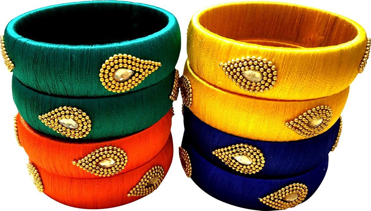 GOELX Festive Offer: Designer Elegant8 Pc Silk Thread Kada Bangles in