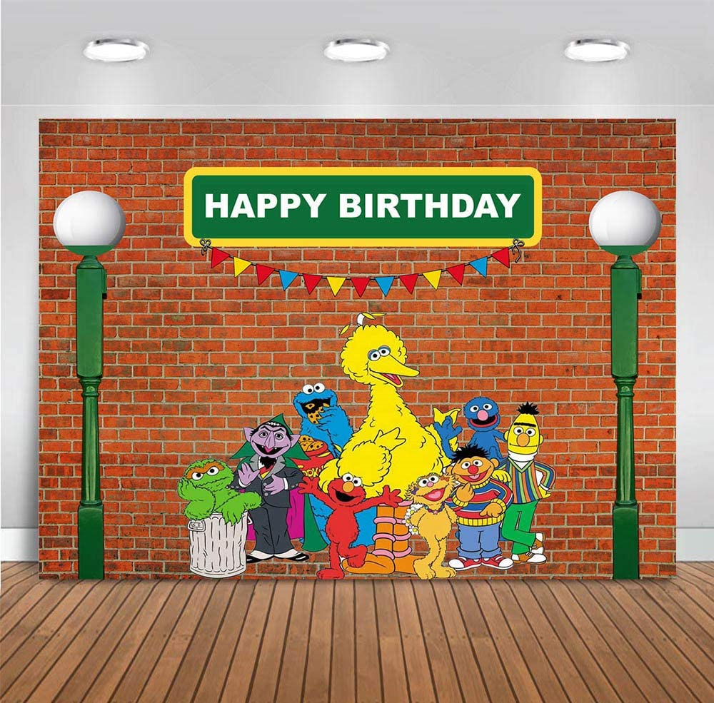 MMY 5x3ft Sesame Street Brick Wall Photography Backdrop Boy Girl Baby Shower Birthday Party Banner Supplies Cake Table Background Decoration Photobooth Props