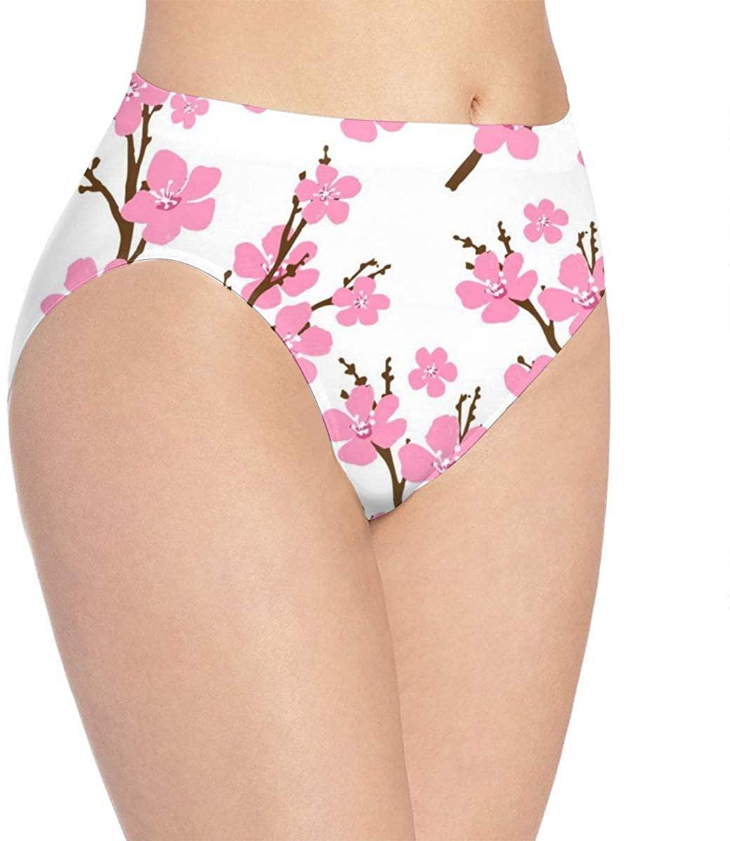 Women Underwear Sakura Floral Cherry Blossoms Briefs Soft Sexy Bikini Panty