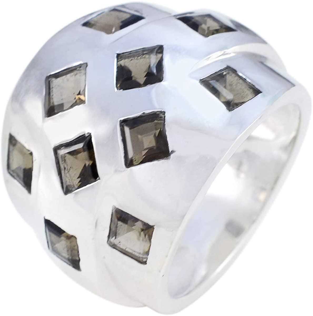 Joyas Plata Real Gemstones Square Shape Multi Stone Faceted Smoky Quartz rings-925 Sterling Silver Brown Smoky Quartz Ring-January Birth Capricorn Astrology Real Gemstones Ring SRSQUFC-7209-4 us