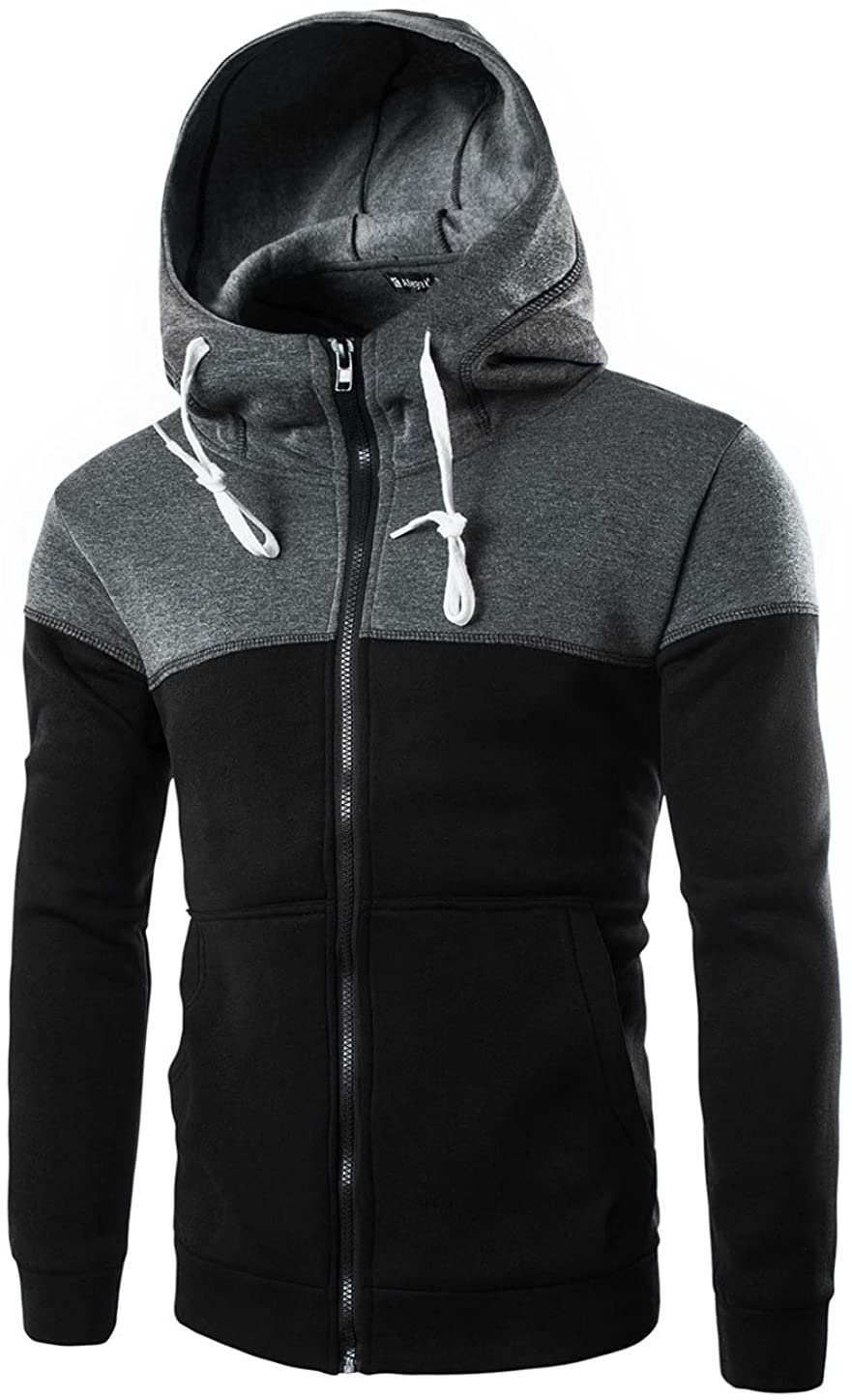 uxcell Men Color Block Drawstring Kangaroo Pocket Front Zip Hoodie Jacket