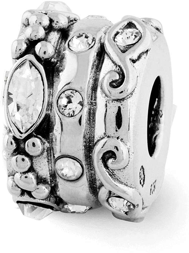Bead Charm White Sterling Silver Stones & Crystals By Swarovski 10.91 mm 7.27