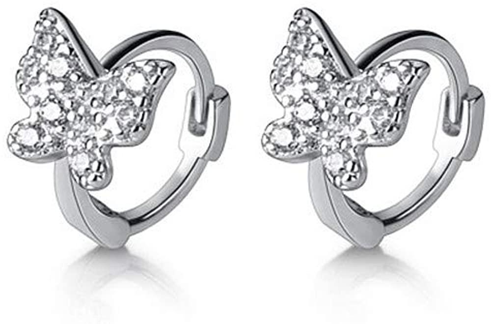 Dainty CZ Butterfly Tiny Cartilage Hoop Earrings for Women Girls 925 Sterling Silver Cubic Zirconia Small Petite Huggie Hoops 6mm Cuff Wrap Piercing Stud Earring Fashion Cute Jewelry