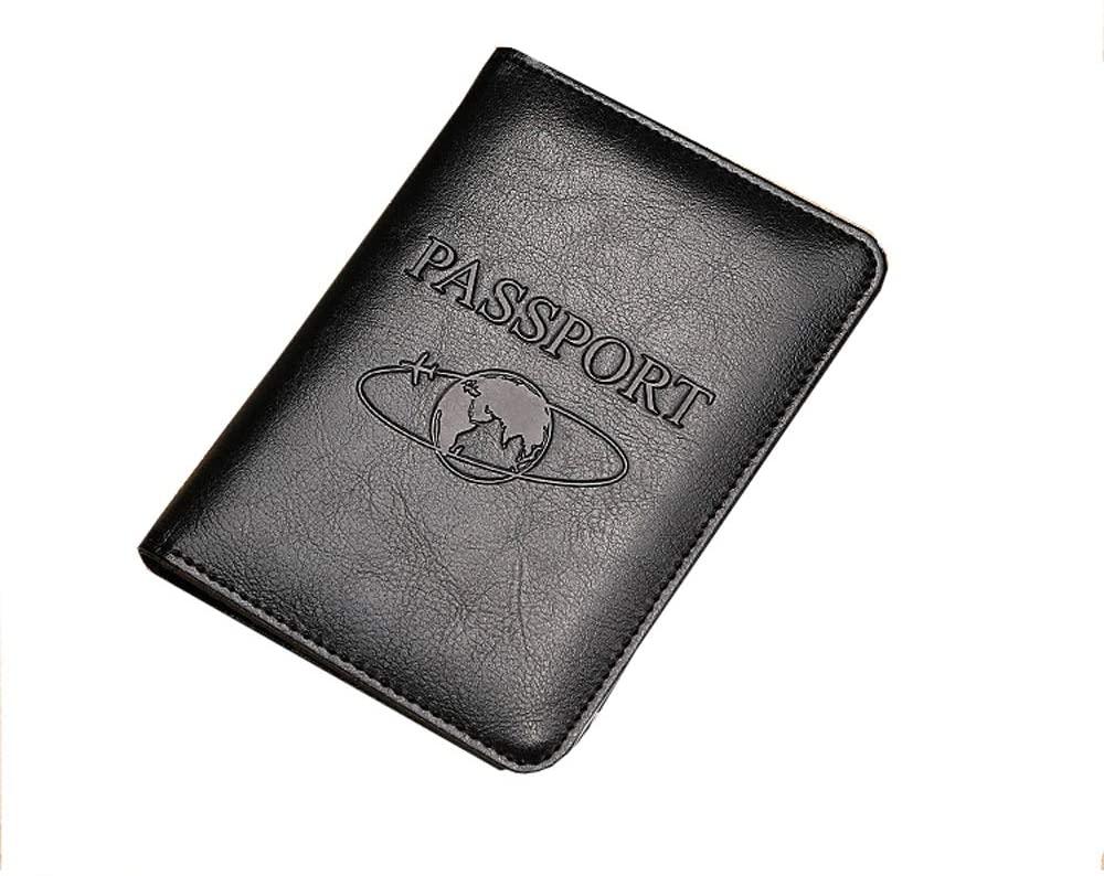 Leather Passport Holder Cover Case RFID Blocking Travel Wallet(black)